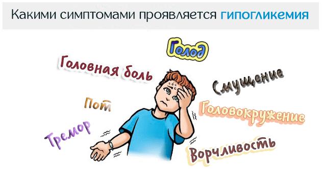 Какими симптомами проявляется гипогликемия (снижение уровня глюкозы в крови)