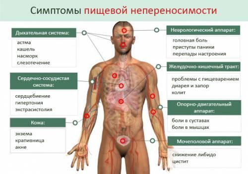 Карта симптомов пищевой непереносимости продуктов