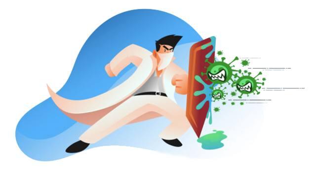 Иллюстрация на тему борьбы с заражением инфекцией