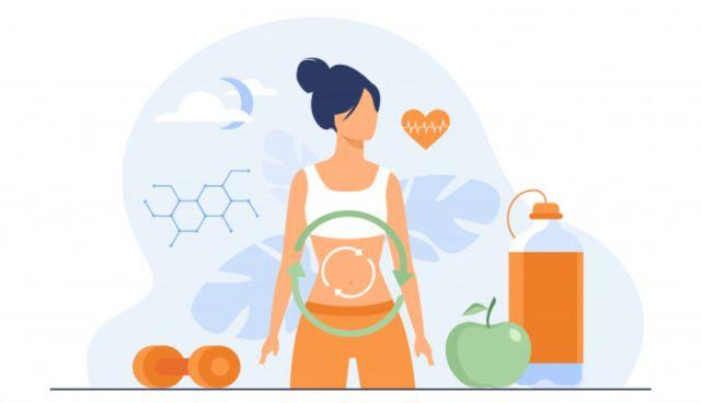 Нарисованная женщина в окружении элементов здорового питания и здорового образа жизни