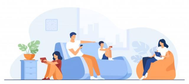 Нарисованная семья сидит на креслах и диване со смартфонами в руках