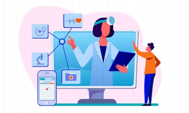 Иллюстрация на тему использования медицинской помощи в режиме онлайн