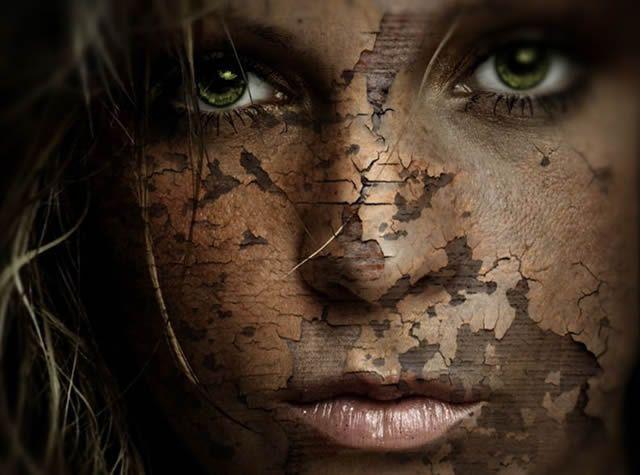 Потрескавшаяся кожа лица девушки (фотошоп)