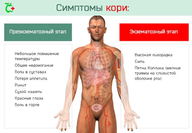 Симптомы кори на различных стадиях заболевания