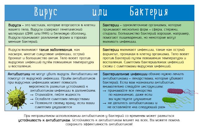 Сравнение вирусной и бактериальной инфекции