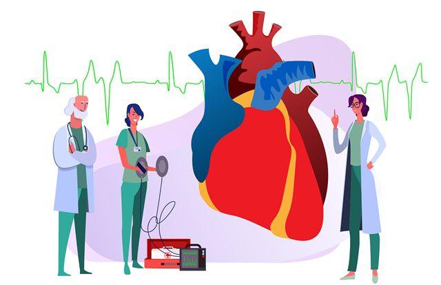 Иллюстрированные врачи оценивают состояние сердечной мышцы