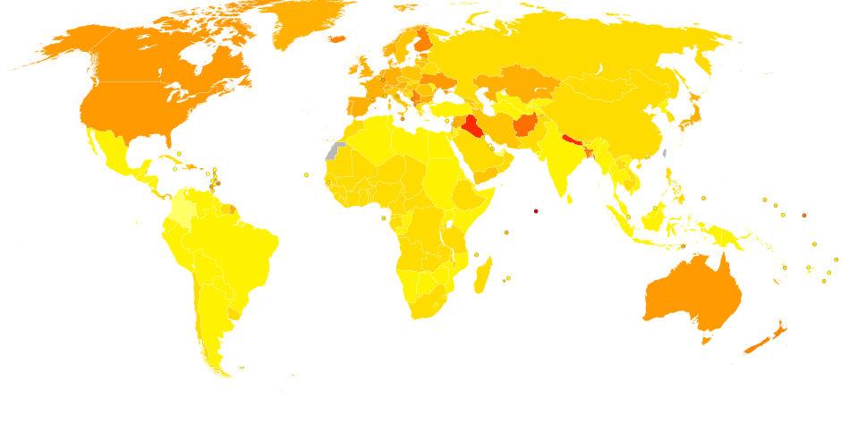 Распространенность болезни Паркинсона по миру