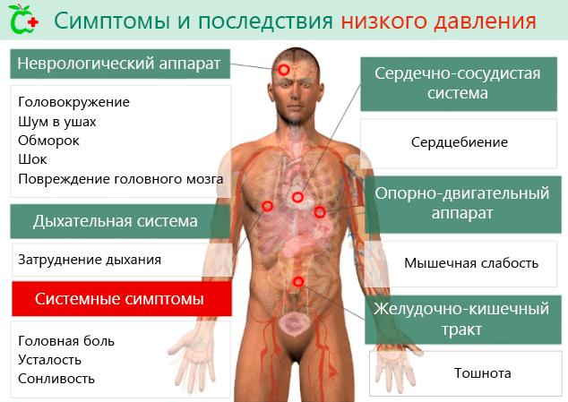 Симптомы и последствия низкого артериального давления крови